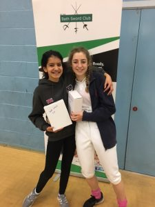Senior Girls Foil Medallists: Tabitha De N'Yeurt and Jade Meyer