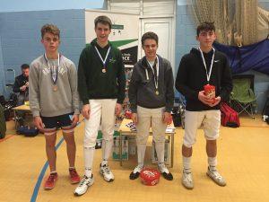 U15 Boys Medallists:  (l-r)  Ollie Goodenough, Sam Ewing, Luca Plastow, Luke Mason