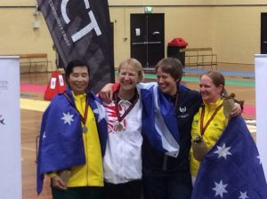 Gold medallist Jane Hutchison and Bronze medallist Michele Narey