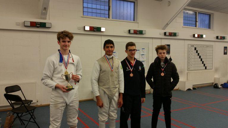 U14 Mens Foil: Gold Medallist Arthur Bury and Bronze Medallist Fergus MacKenzie