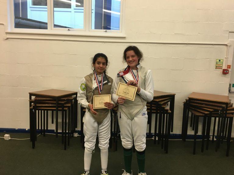 U14 Womens Foil: Silver Medallist Tabitha De N'Yeurt and Bronze Medallist Daisy Barrow