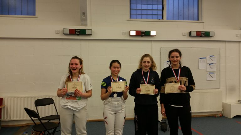 U16 Womens Foil: Gold Medallist Karolina Sniarowska and Bronze Medallists Jade Meyer and Emily Harbord